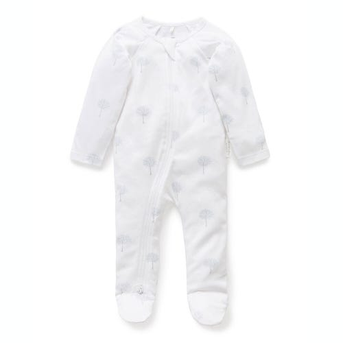 Purebaby Zip Growsuit - Blue Tree