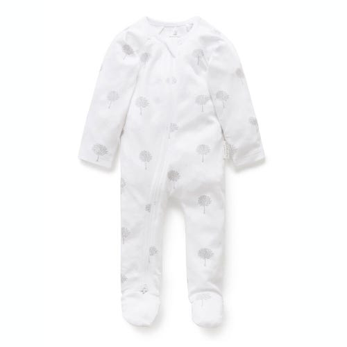 Purebaby Zip Growsuit - Grey Tree