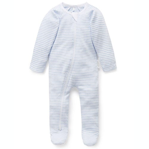 Purebaby Zip Growsuit - Pale Blue - Melange Stripe