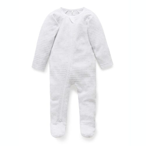 Purebaby Zip Growsuit - Pale Grey - Melange Stripe
