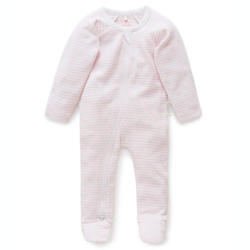 Purebaby Zip Growsuit - Pale Pink - Melange Stripe