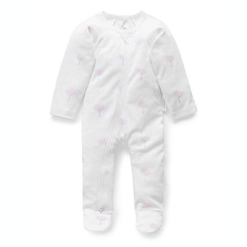 Purebaby Zip Growsuit - Pink Tree