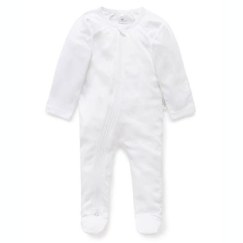 Purebaby Zip Growsuit - White
