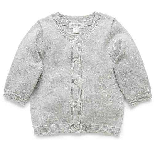 Purebaby Cotton Basic Cardigan  - Pale Grey Melange