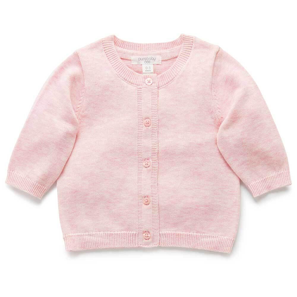 Purebaby Cotton Basic Cardigan  - Pale Pink Melange