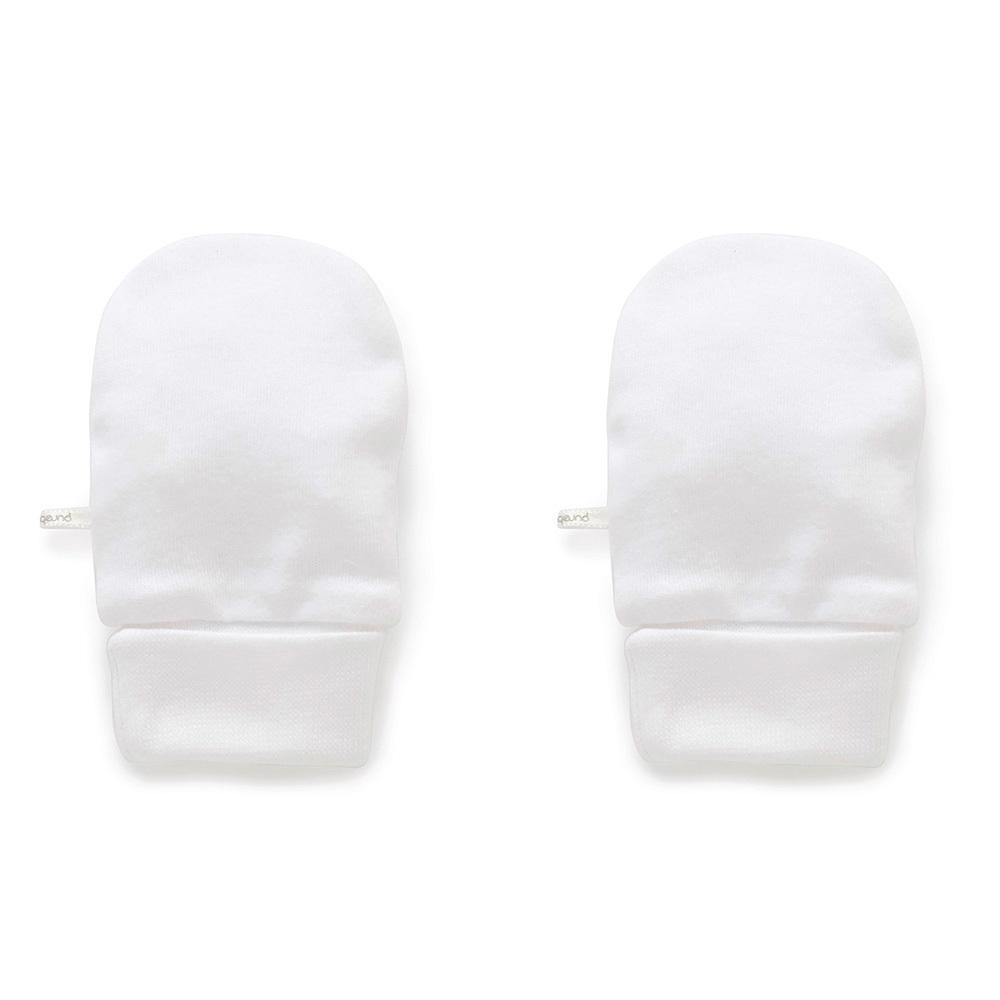 Purebaby Mittens - White
