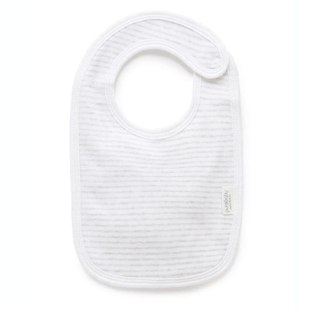 Purebaby Bib - Pale Grey Melange Stripe