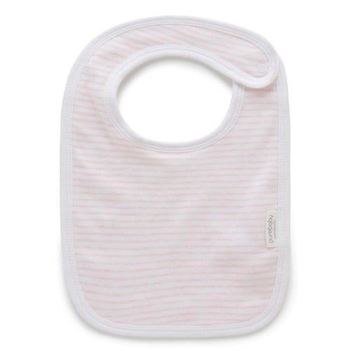 Purebaby Bib - Pale Pink Melange Stripe