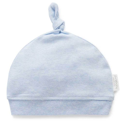 Purebaby Knot Hat - Pale Blue Melange