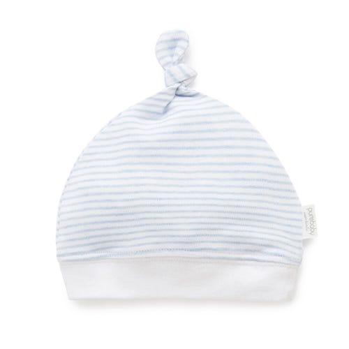 Purebaby Knot Hat - Pale Blue Melange Stripe