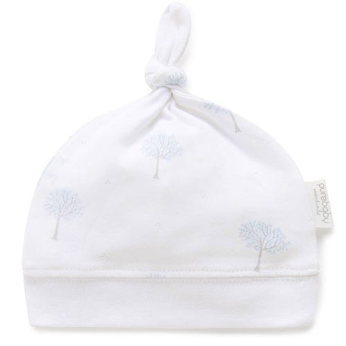 Purebaby Knot Hat - Pale Blue Tree