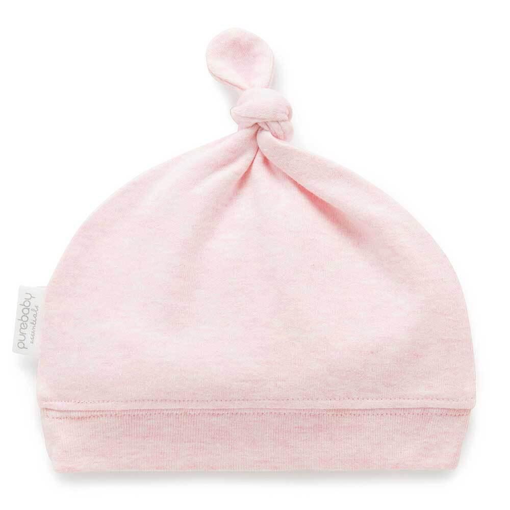 Purebaby Knot Hat - Pale Pink Melange