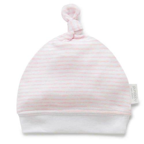 Purebaby Knot Hat - Pale Pink Melange Stripe