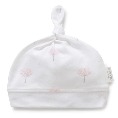 Purebaby Knot Hat - Pale Pink Tree