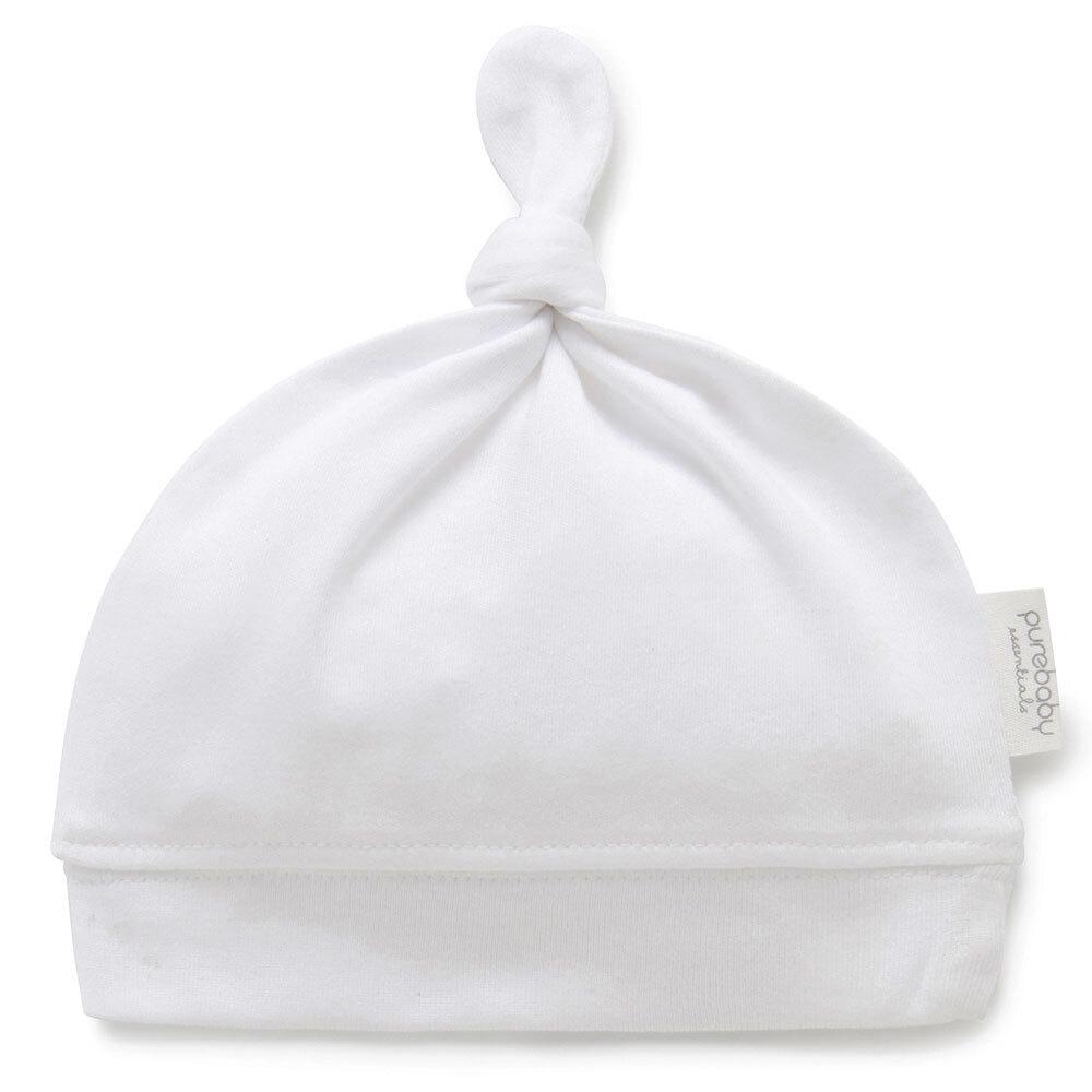 Purebaby Knot Hat - White