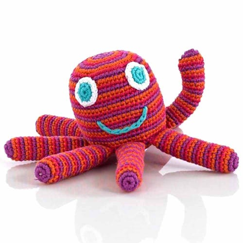 Pebble Ethical Toys - Octopus with Rattle Dark Pink