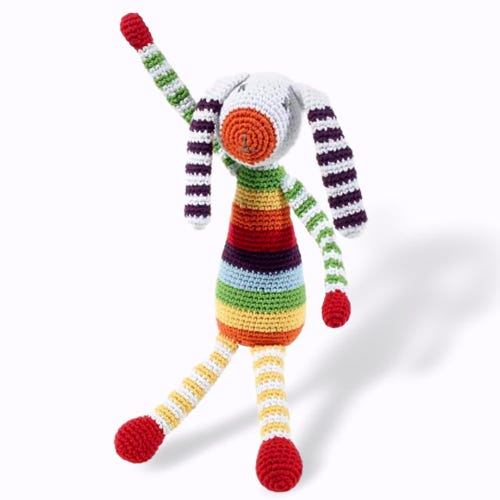 Pebble Ethical Toys - Rainbow Bunny with Rattle