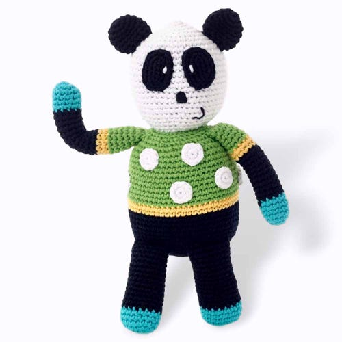 Pebble Ethical Toys - Spotty Panda with Rattle