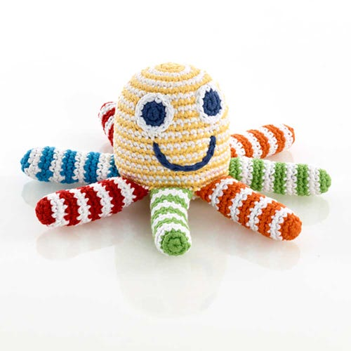 Pebble Ethical Toys - Yellow Octopus with Rattle