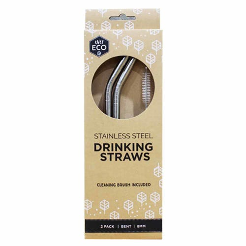 Ever Eco Straws (Bent) 2 Pack + Cleaning Brush