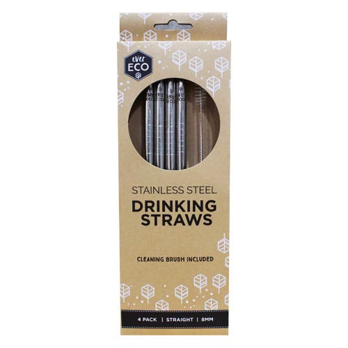 Ever Eco Straws (Straight) 4 Pack + Cleaning Brush