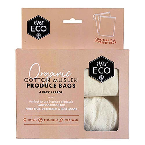 Ever Eco Reusable Cotton Muslin Produce Bags - 4 Pack