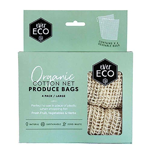 Ever Eco Reusable Organic Cotton Produce Bags - 4 Pack