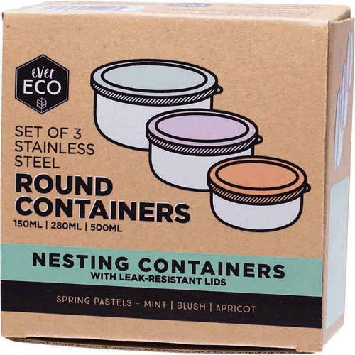 Ever Eco Stainless Steel Nesting Containers 3 Pack