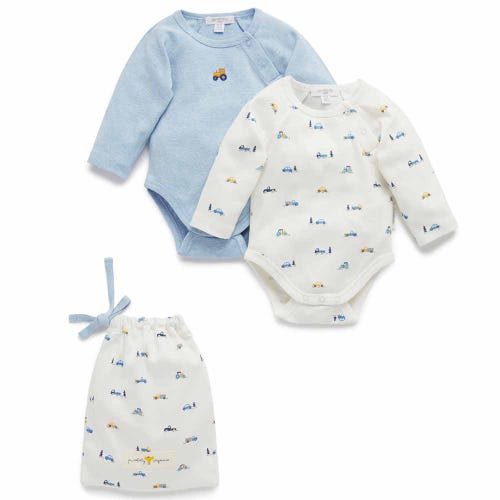 Purebaby 2 Pack Bodysuit Giftpack - Tractors
