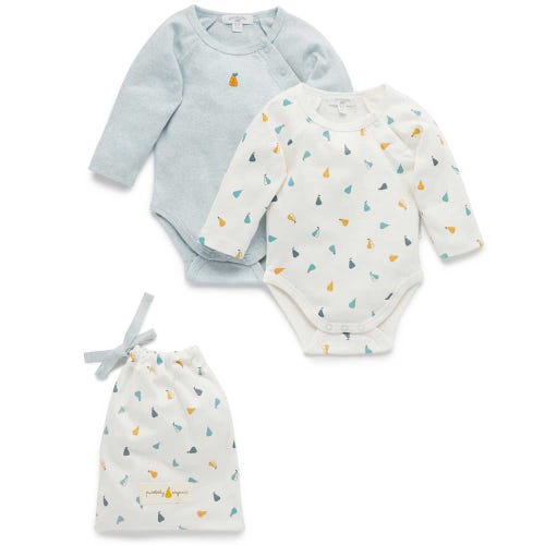 Purebaby 2 Pack Bodysuit Giftpack - Autumn Pears