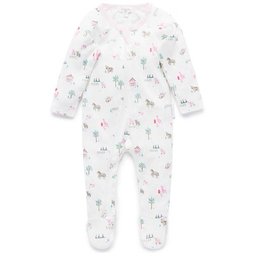 Purebaby Zip Growsuit - Farm Sanctuary Pink
