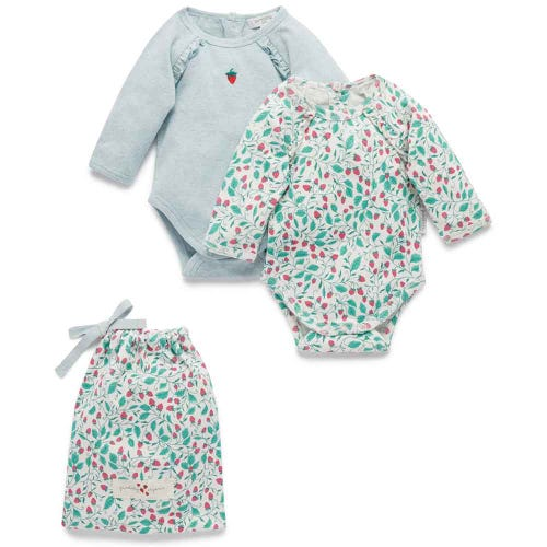Purebaby 2 Pack Bodysuit Giftpack - Strawberries