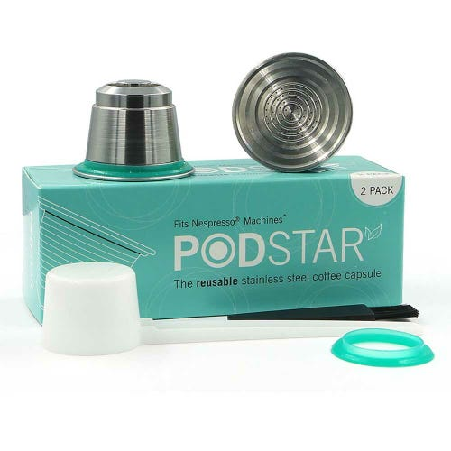 Pod Star Reusable Coffee Capsule 2 Pack