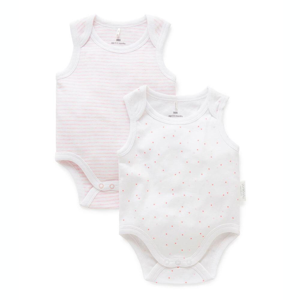 Purebaby 2 Pack Singlet Bodysuit - Pale Pink