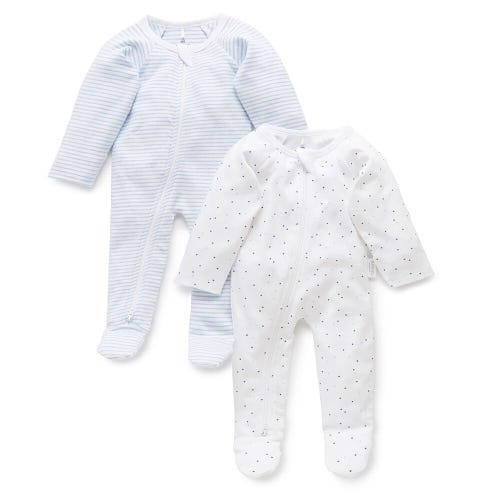 Purebaby 2 Pack Zip Growsuit - Pale Blue