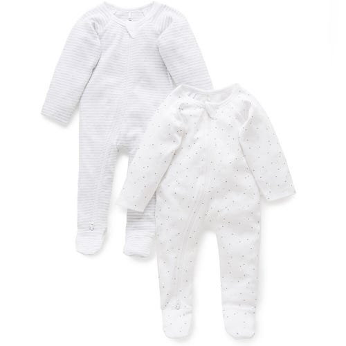 Purebaby 2 Pack Zip Growsuit - Pale Grey