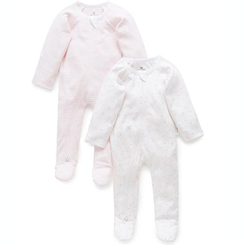 Purebaby 2 Pack Zip Growsuit - Pale Pink
