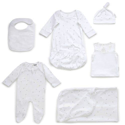 Purebaby Newborn Hospital Pack - Pale Grey Leaf with Spot