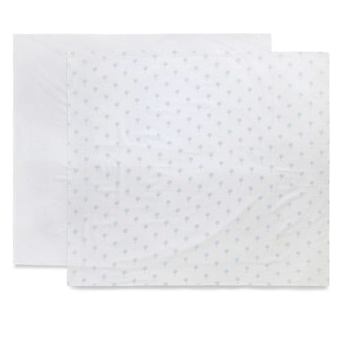 Purebaby Muslin Wrap 2 Pack - Pale Blue Tree