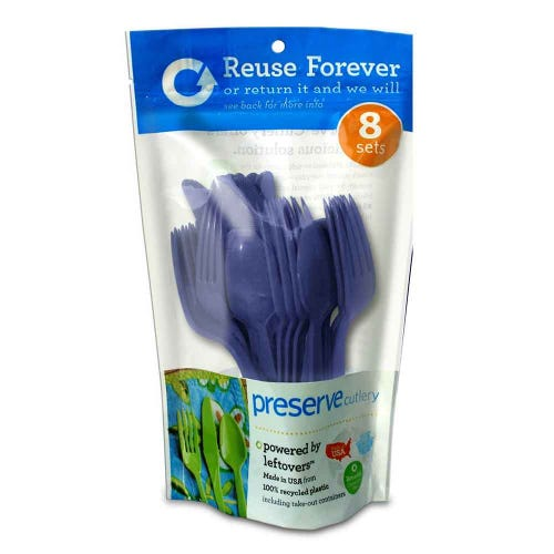 Preserve Reusable Recycled Cutlery - Blue  (24 Pack)