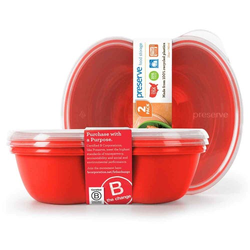 Preserve Lunch & Food Container - Red (Set of 2)