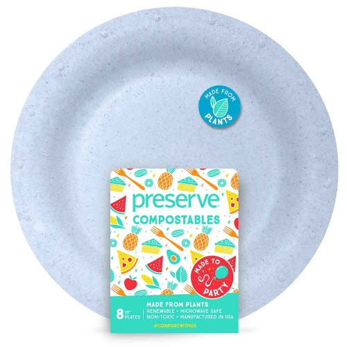 "Preserve Compostable Plate - Large (10"") Blue (8 Pack)"