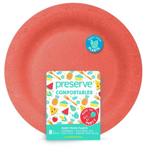 "Preserve Compostable Plate - Large (10"") Red (8 Pack)"