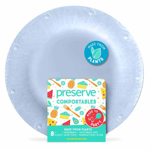 "Preserve Compostable Plate - Small (7"") Blue (8 Pack)"