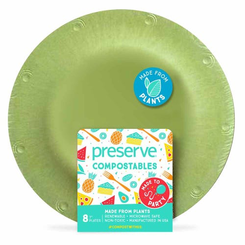 "Preserve Compostable Plate - Small (7"") Green (8 Pack)"