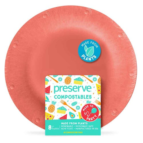 "Preserve Compostable Plate - Small (7"") Red (8 Pack)"