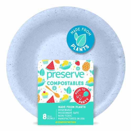 Preserve Compostable Bowl Blue (8 Pack)