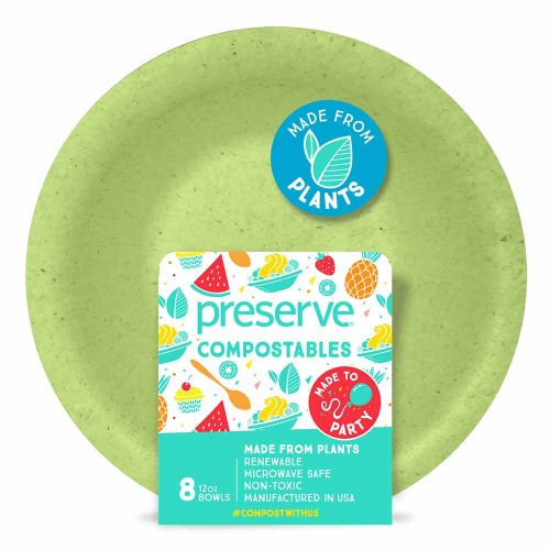 Preserve Compostable Bowl Green (8 Pack)