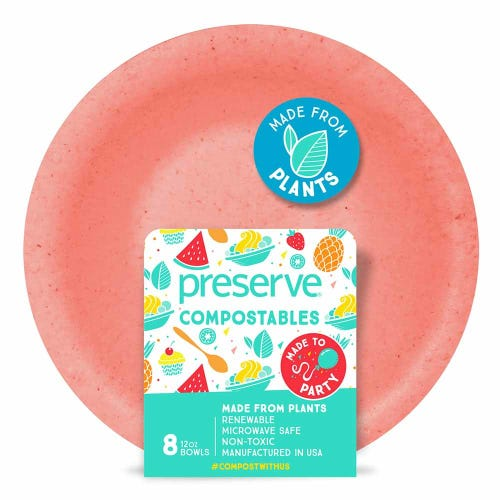 Preserve Compostable Bowl Red (8 Pack)