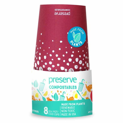 Preserve Compostable Cups - Red (8 Pack)